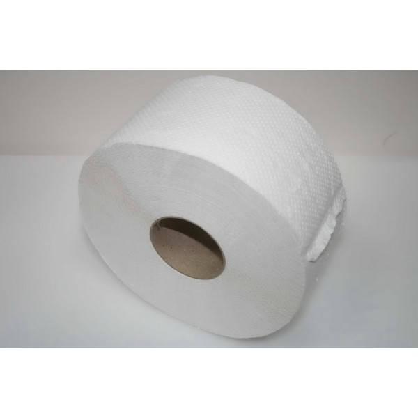 Бумага туалетная на гильзе 2 слоя белая целлюлоза 190х90 мм., 100 м. Джамбо