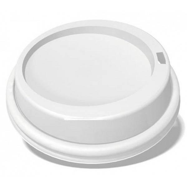 Крышка пластиковая белая с поилкой для бумажного стакана 350 мл 77130 50шт/уп