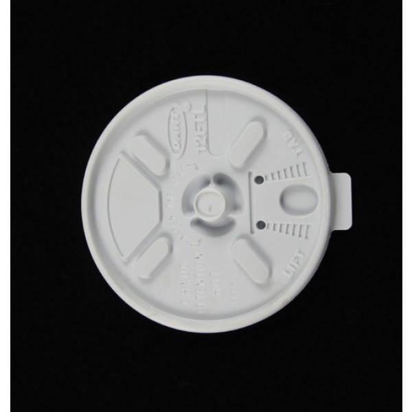 Крышка пластиковая белая универсальная с поилкой для стакана 14FJ12, 100шт/уп