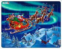 Пазл рамка-вкладыш Санта Клаус в северном сиянии (26 эл.), серия Макси, Larsen