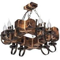Люстра из дерева Балка - Винсент - Рамка 8 ламп Старая Бронза, Дерево Состаренное темное, с веревками