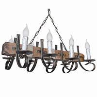 Люстра из дерева Балка - Винсент 8 ламп Старая Бронза, Дерево Состаренное темное, со свечами, с веревками