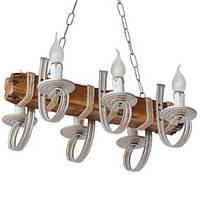 Люстра из дерева Балка - Винсент 6 ламп Бежевый с золотом, Дерево Состаренное светлое, со свечами, с веревками