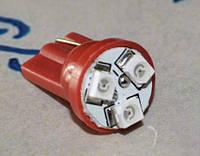 Светодиодная автомобильная лампа в подсветку с цоколем Т10(W5W) 1210-3 (красный)