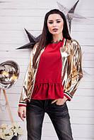 Куртка женская короткая на молнии из экокожи P6223