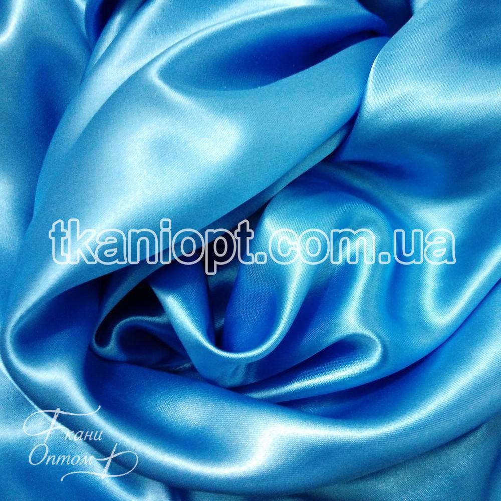Ткань Атлас обычный голубой оптом (65 gsm)