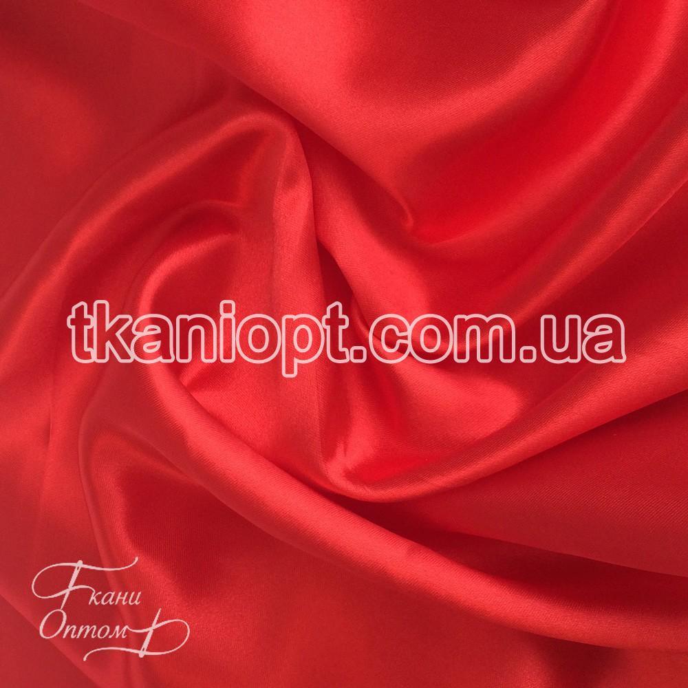 Ткань Атлас обычный красный оптом (65 gsm)
