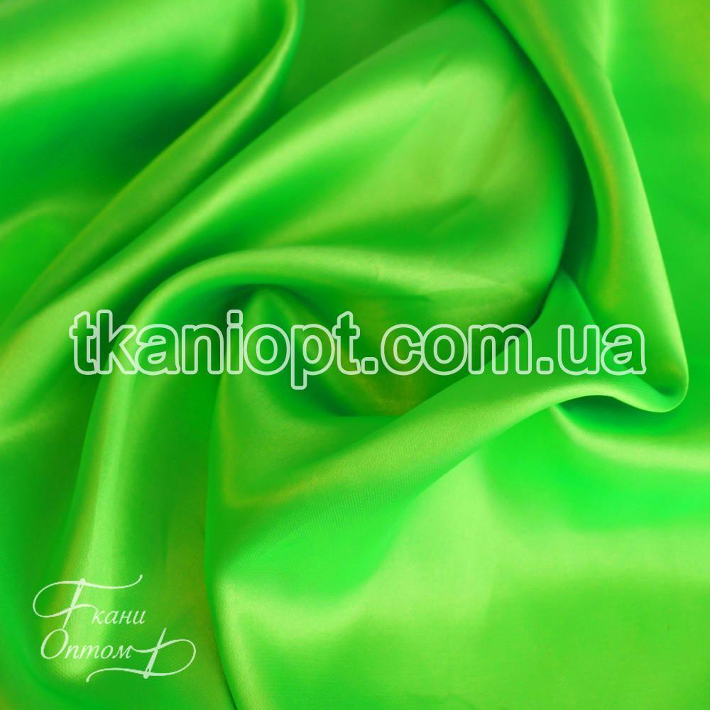 Ткань Атлас обычный ярко-салатовый оптом (65 gsm)