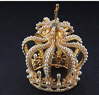 Круглая корона под золото с жемчугом, диадема, тиара, высота 15,5 см.