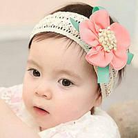 Цветок, повязка на голову детская на резинке
