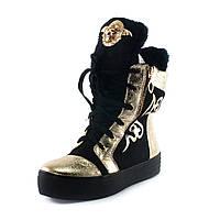 Ботинки зимние женские Rima I3-614M8 черно-золотые