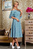 Стильное летнее платье из коттона, голубое, размеры 44-50