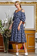 Стильное летнее платье из коттона, тёмно-синее, размеры 44-50