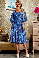 Стильное летнее платье из коттона, синий/розовый, размеры 44-50