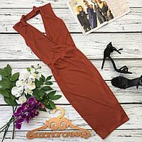Шикарное платье миди с глубоким декольте и чокером  DR2407