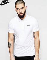 Футболка Поло Nike logo | Белая тенниска Найк лого