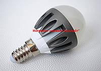 Лампа светодиодная шар 5W 220V 3000K E14