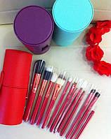 Кисти для макияжа в кожаном тубусе 12 шт (фиолетовый, салатовый туб)