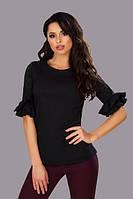 Блузка женская из поплина с рюшами на рукавах P6227