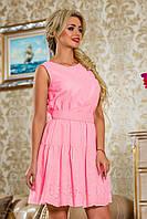 Стильное розовое платье из батиста, летнее, размеры 42-48