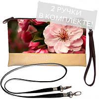 Женская сумка клатч с принтом Розовый цветок