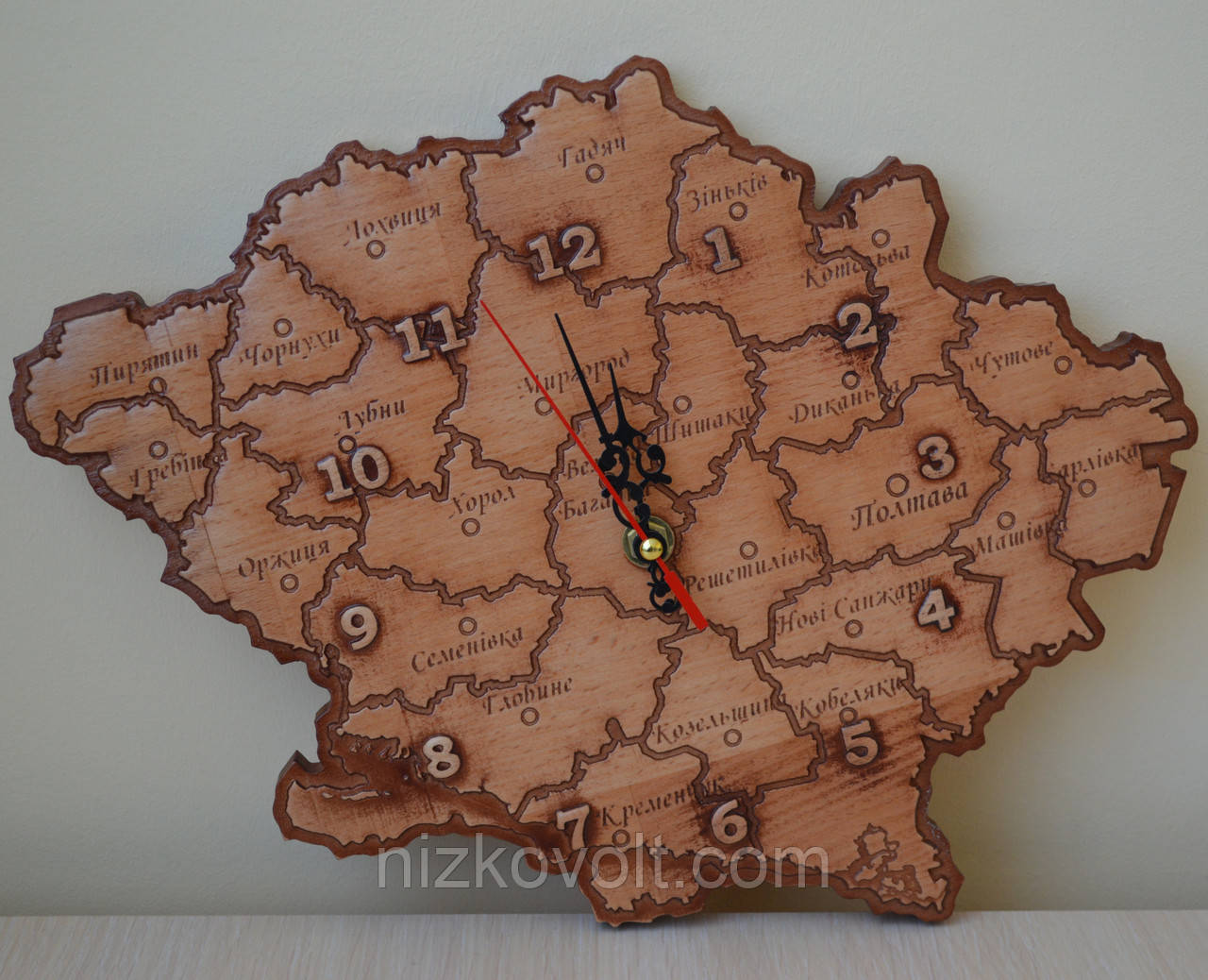 """Часы сувенирные из дерева """"Полтавская область"""""""