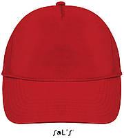 Кепки - бейсболки SOL'S BUZZ с логотипом, 5 панелей, на липучке, 10 цветов, Франция, код 88119 красный
