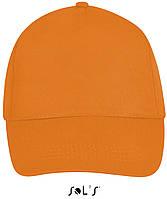 Кепки - бейсболки SOL'S BUZZ с логотипом, 5 панелей, на липучке, 10 цветов, Франция, код 88119 оранжевый