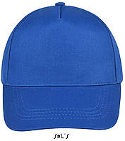 Кепки - бейсболки SOL'S BUZZ с логотипом, 5 панелей, на липучке, 10 цветов, Франция, код 88119 ярко-синий