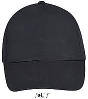 Кепки - бейсболки SOL'S BUZZ с логотипом, 5 панелей, на липучке, 10 цветов, Франция, код 88119 черный