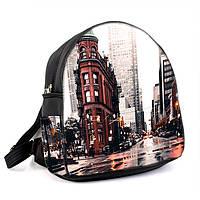 Женский модный черный рюкзак с принтом Город