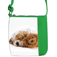 Зеленая детская сумка Маленькая принцесса Собачка спит