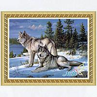Набор Алмазной вышивки Волки 48х36 см, круглые камни, полная выкладка
