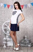 Молодежная юбка для беременных Zoi S14-3.14.2 синяя, размер XL