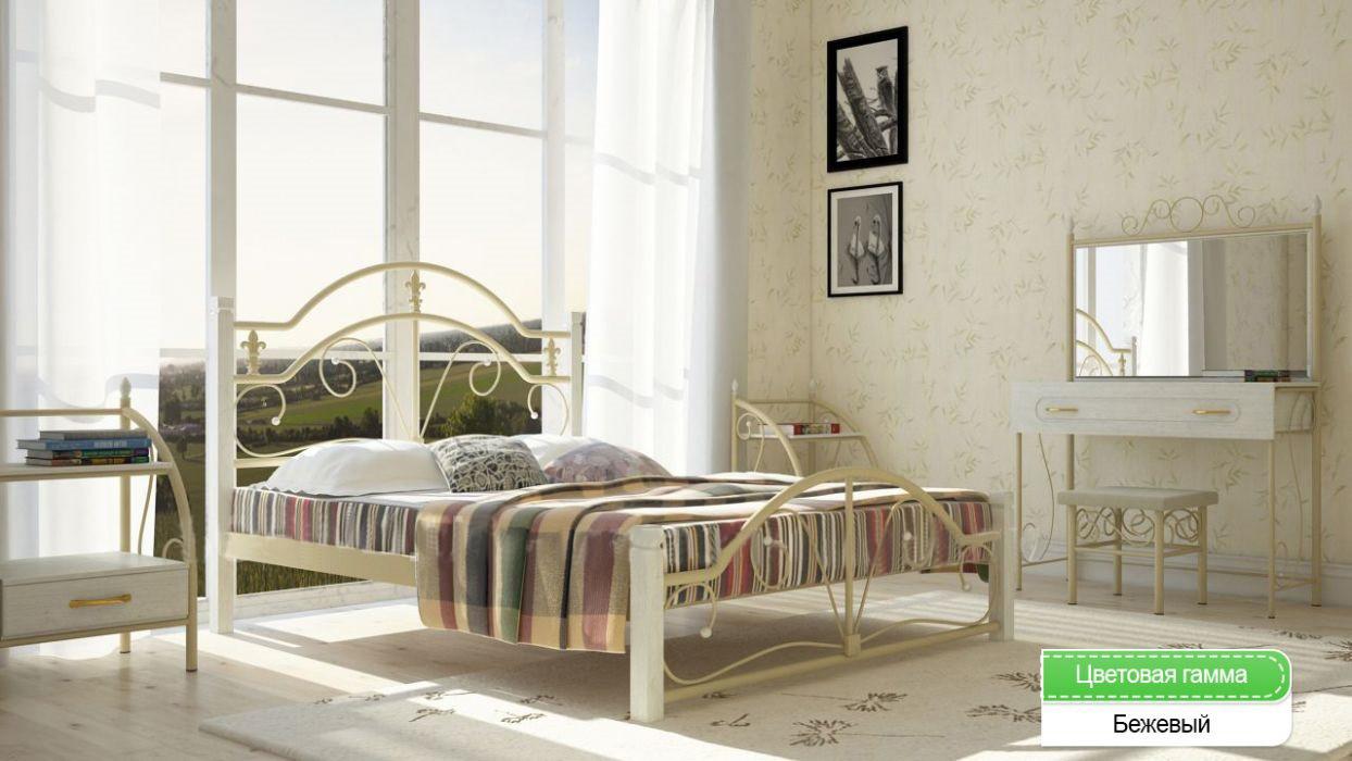 Металлическая кровать (дерево ножки) Диана Металл-дизайн 180 см