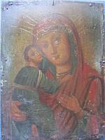 Икона Владимирская Божья Матерь дерево, масло конец 19 века