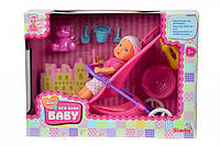 Simba Кукольный набор Пупс New Born Baby Mini с коляской и аксессуарами (5030928)