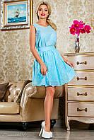 Стильное голубое платье из батиста, летнее, размеры 42-48