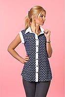 Женская блуза в деловом и офисном стиле тёмно-синего цвета размер:42,44,46,48,50,52
