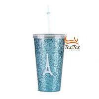 Пластиковый стакан с крышкой и трубочкой Paris