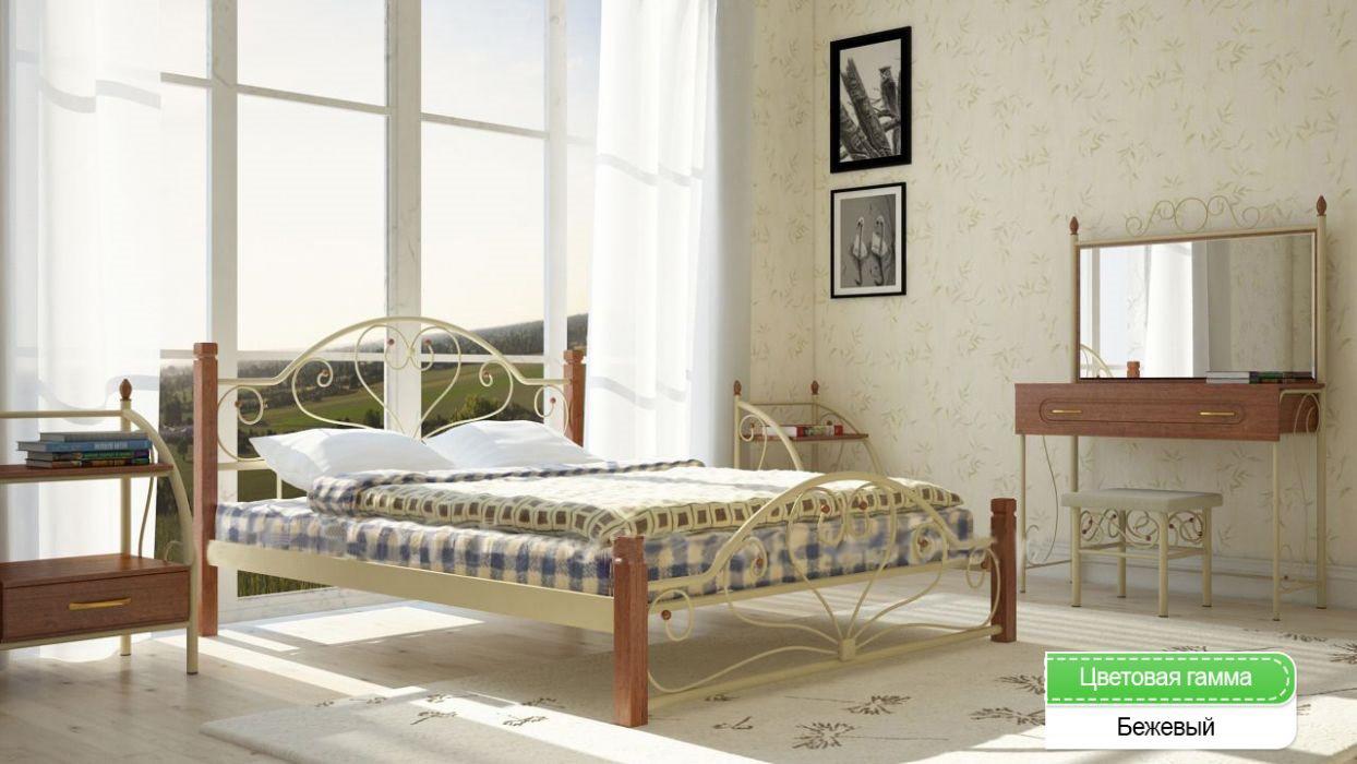 Металлическая кровать (дерево ножки) Джоконда Металл-дизайн