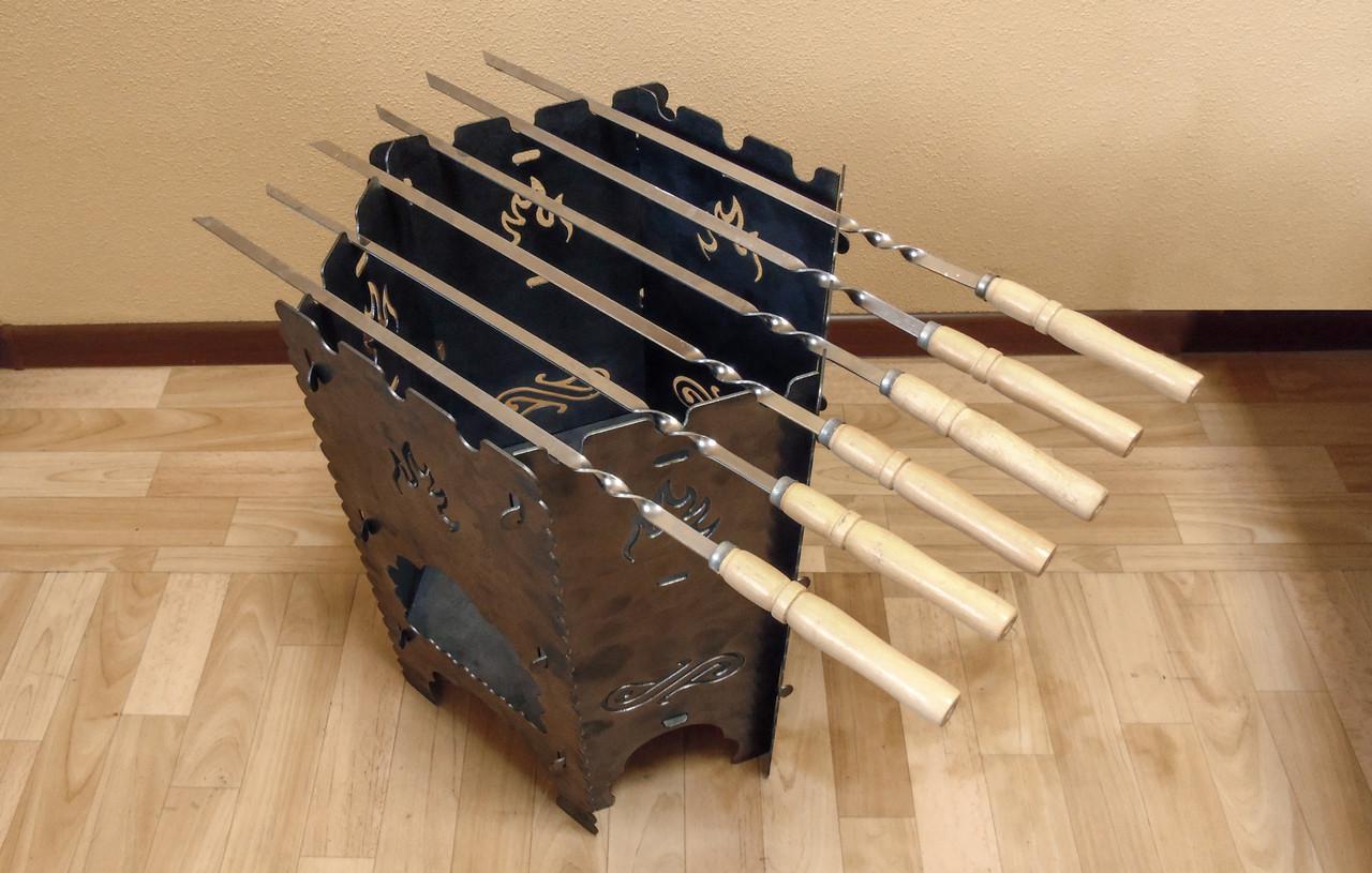 """Раскладной мангал-печь 3в1 """"Гюльчатай"""",2мм + комплект шампуров 6шт., с чехлом"""