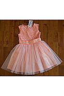 Персиковое легкое и воздушное детские платье