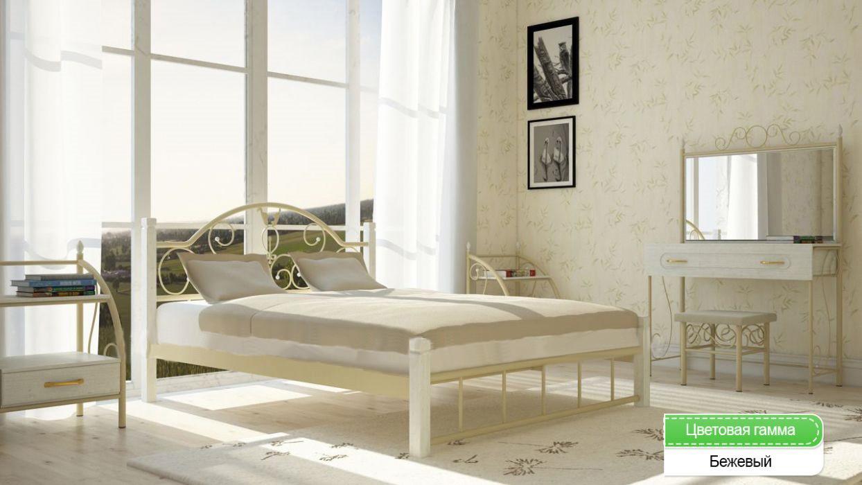 Металлическая кровать (дерево ножки) Анжелика Металл-дизайн