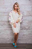 Платье-вышиванка Очарование с рукавами-фонариками молочного цвета