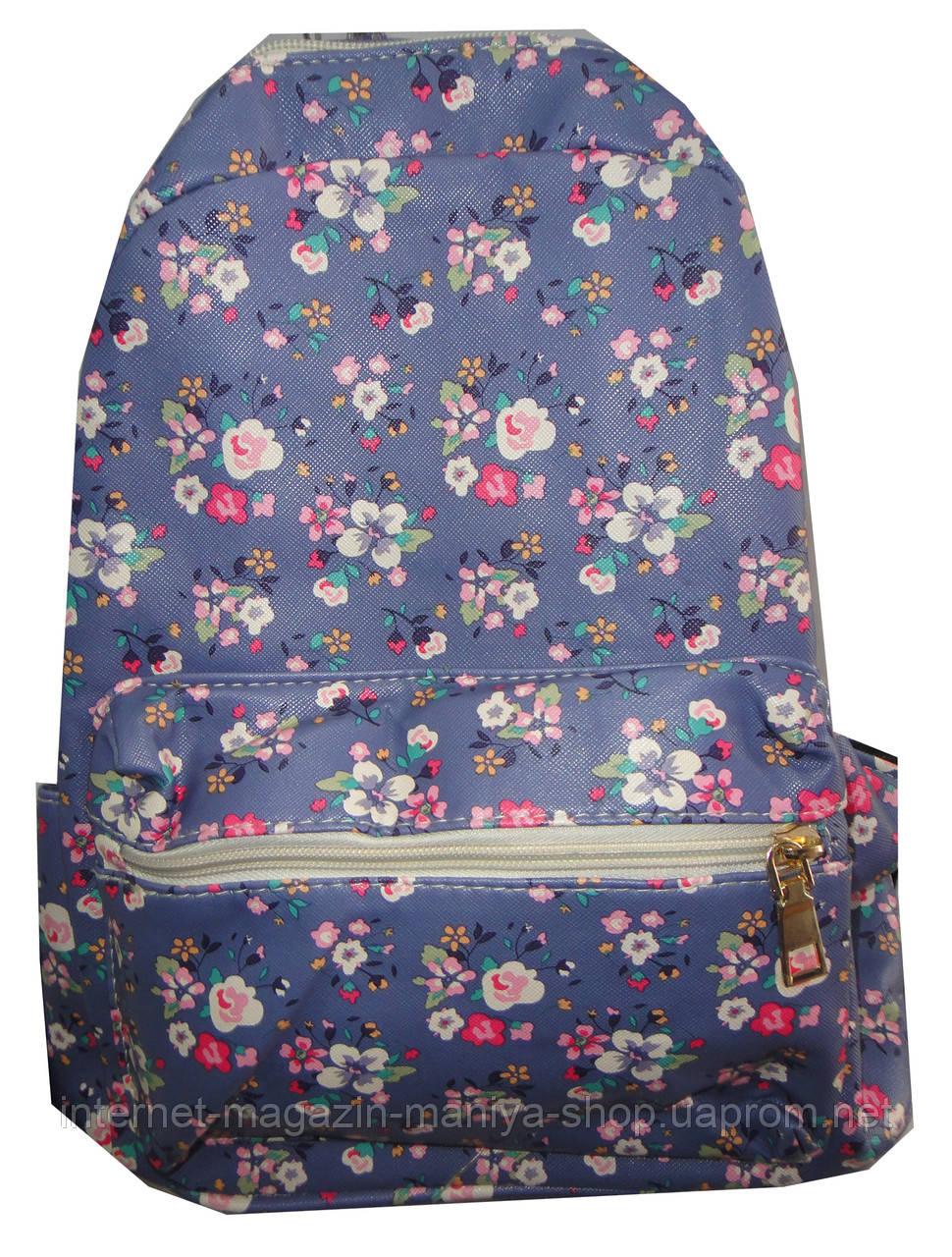 Рюкзак для девочки H008 цветы карман