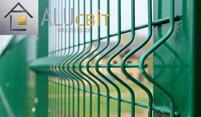 Секційна 3Д огорожа 1,26 м х 2,5 м паркан з полімерним покриттям, 4х4 мм стандарт, фото 2