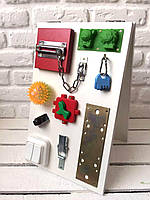 "Развивающая доска двухстороннаяя для детей ""Busy Board"", по методики Монтессори, размер 40х25, материал ДСП"