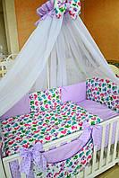 Балдахин в детскую кроватку 120/60 (белый шифон с сиреневой оборкой)