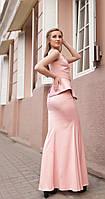 Длинное атласное вечернее платье с баской,цвета пудры